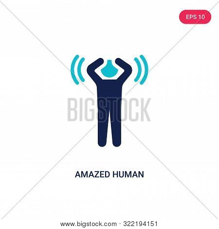 amazed human icon in two color design style. amazed human vector icon modern and trendy flat symbol for web site, mobile, app, logo, UI. amazed human colorful isolated icon on white background. amazed human icon simple vector illustration, EPS10. stock photo
