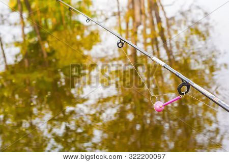 Bright pink alarm bite on the rod close-up. Fishing rod on the background of reflection in the pond autumn leaves of trees stock photo