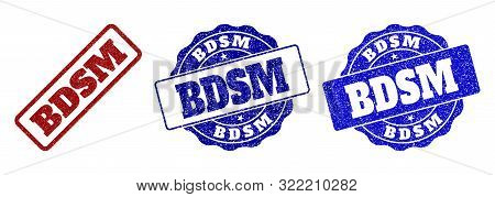 BDSM scratched stamp seals in red and blue colors. Vector BDSM watermarks with dirty style. Graphic elements are rounded rectangles, rosettes, circles and text captions. stock photo