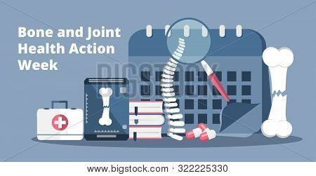 Bone and Joint Health Action Week in 12-20 week in USA. Osteoporosis world day concept stock photo