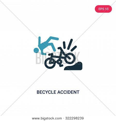 becycle accident icon in two color design style. stock photo