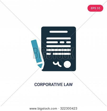 corporative law icon in two color design style. stock photo