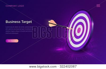 Business target isometric concept vector illustration. Round dart board with arrow flying to bullseye. Symbolic goals achievement, success and competitors victory on ultraviolet webpage background stock photo