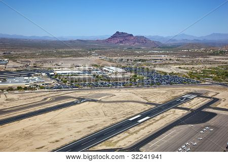 Red Mountain from Falcon Field in Mesa Arizona stock photo