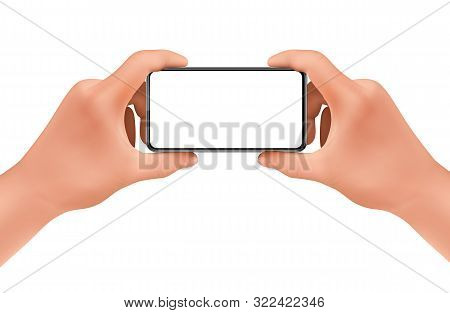 3d realistic human hands holding smartphone for taking photo. Template, mock up for mobile app or advertisment. Screen of electronic device, smart phone for poster, banner. stock photo