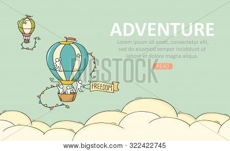 Travel temblate with air balloon. Doodle cute miniature scene about adventure. Hand drawn cartoon vector illustration. stock photo