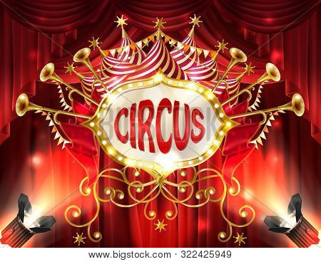 background with circus signboard illuminated with spotlights and red curtains, golden trumpets, stars and ribbons. Decorative carnival banner with retro frame, billboard for announcements stock photo