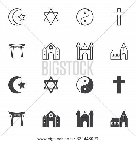 Religion Signs Icon Set, Line And Glyph Version, Outline And Filled Vector Sign. Linear And Full Pic