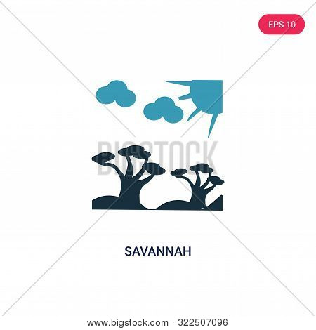 savannah icon in two color design style. stock photo