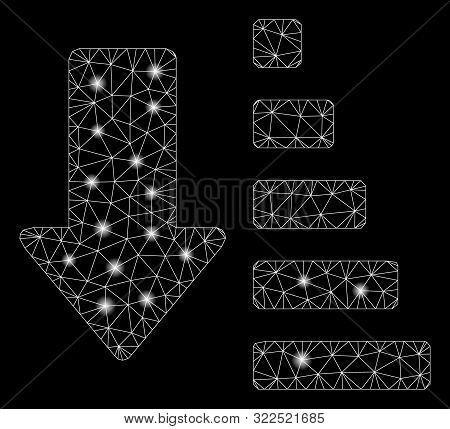 Glossy mesh sort down arrow with glitter effect. Abstract illuminated model of sort down arrow icon. Shiny wire carcass triangular mesh sort down arrow. Vector abstraction on a black background. stock photo