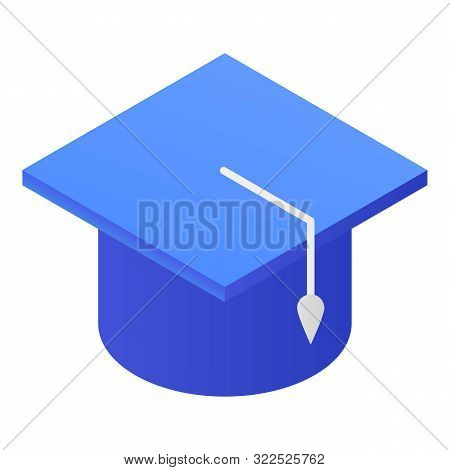 Blue academic cap icon. Isometric of blue academic cap vector icon for web design isolated on white background stock photo