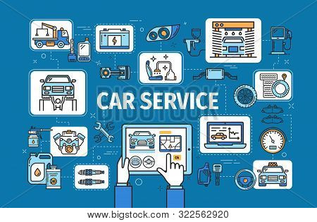 Car service, computer diagnostics and checkup, auto mechanic maintenance and repair station, vector. Car wash, taxi and tow service, engine oil replacement and tire pumping stock photo