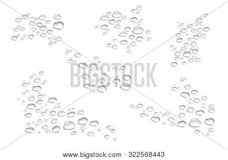 bubbles, water drops in realistic volumetric style. monochrome set of black and white 3d water drops, a symbol of freshness and purity. art design elements isolated on white background for advertising, web, business, your ideas. illustration stock photo