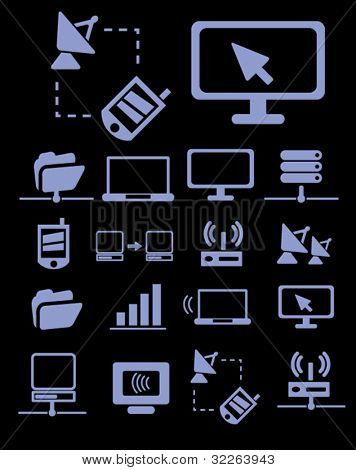 communication & network icons, signs, vector illustrations stock photo