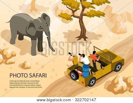 People In Safari Car Taking Photo Of Elephant 3d Isometric Vector Illustration