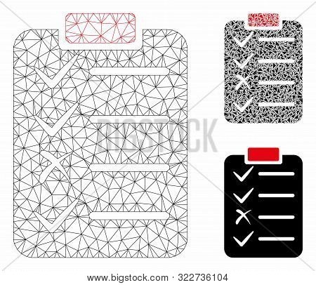 Mesh task list model with triangle mosaic icon. Wire carcass triangular mesh of task list. Vector composition of triangle elements in variable sizes, and color tinges. Abstract flat mesh task list, stock photo