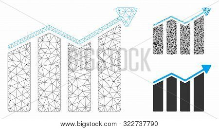 Mesh trend model with triangle mosaic icon. Wire carcass triangular mesh of trend. Vector composition of triangle parts in various sizes, and color shades. Abstract 2d mesh trend, stock photo
