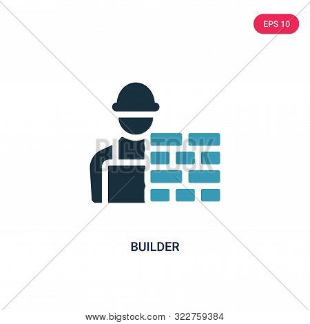 builder icon in two color design style. stock photo