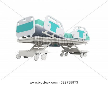 Blue hospital bed with lifting mechanism on stand alone remote control 3D render on white background no shadow stock photo
