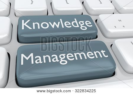 3D illustration of computer keyboard with the script Knowledge Management on two adjacent buttons stock photo