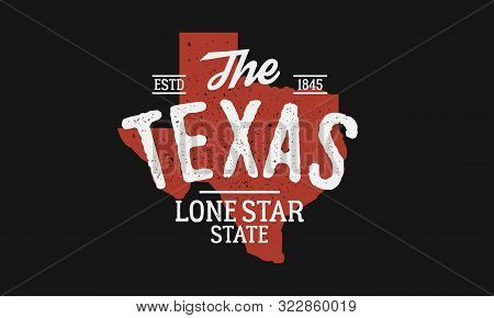 Texas State logo. The Lone Star State. USA Texas vintage emblem. Texas flag map with stamp effect. Vector illustration stock photo