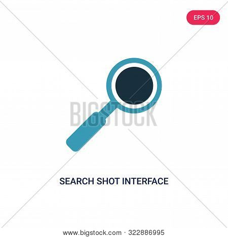 search shot interface with a magnifier tool icon in two color design style. stock photo