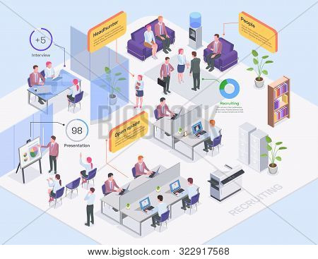 Recruiting agency office interior headhunters and job candidates isometric composition 3d vector illustration stock photo