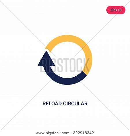 reload circular arrow icon in two color design style. stock photo