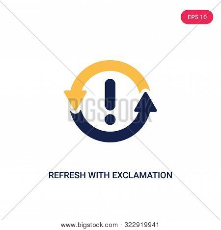 refresh with exclamation icon in two color design style. stock photo