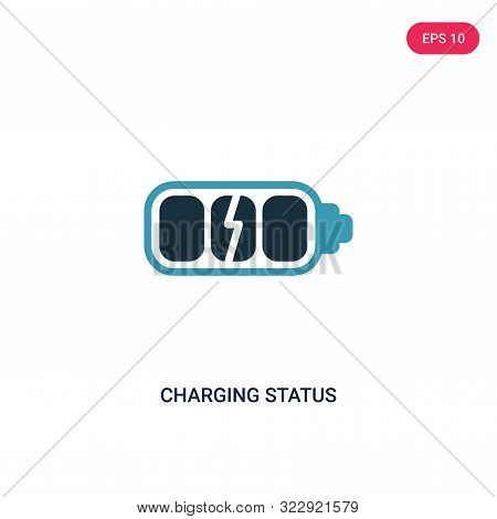 charging status icon in two color design style. stock photo