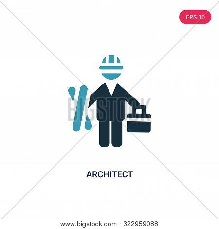 architect icon in two color design style. stock photo