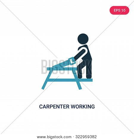 carpenter working icon in two color design style. stock photo
