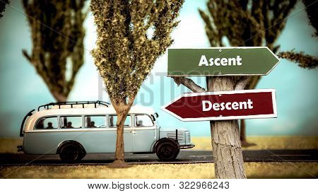 Street Sign the Direction Way to Ascent versus Descent stock photo