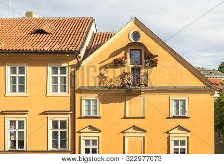 Fragment of the facade of the Annas house. Prague, Czhech Republic. stock photo