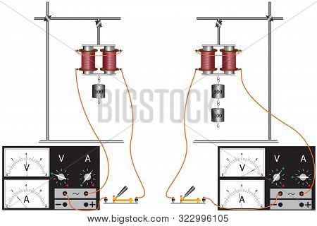 A physical experiment with an electromagnet that demonstrates the dependence of its strength on voltage and current strength in an electrical circuit. stock photo