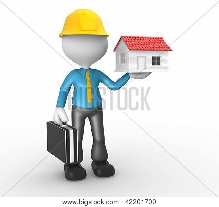 3d people - man person with a house. Engineer stock photo