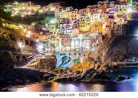 Night view of colorful village manarola in cinque terre
