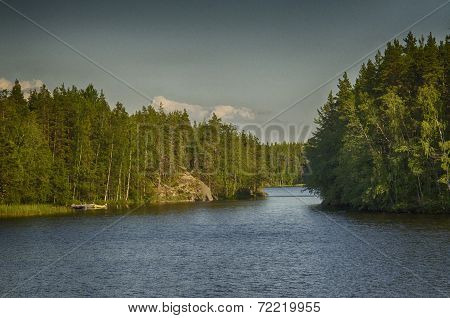 Beautiful and clean lakes and forests of Finland. stock photo