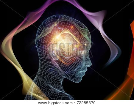 Frame of Mind series. Composition of human face wire-frame and fractal elements on the subject of brain mind reason intuition inner energy and mystic consciousness stock photo