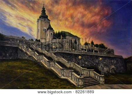 A beautiful oil painting on canvas of a church and a staircase in a sunset light stock photo