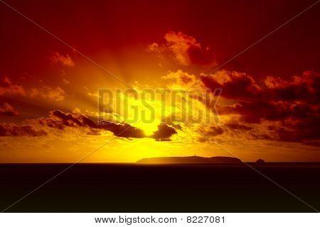 berlengas sunset on a beautiful summer day stock photo