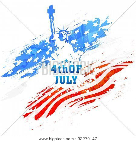 American national flag colors paint stroke with illustration of Statue of Liberty for 4th of July, I