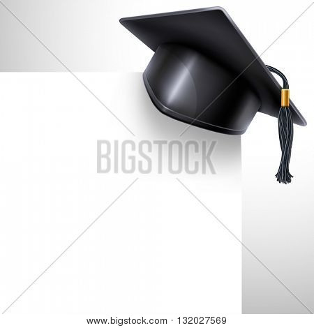 Black graduation cap with black and gold tassel and white paper sheet. Graduation concept. Back to school design. There is a place for your text. Vector illustration. stock photo