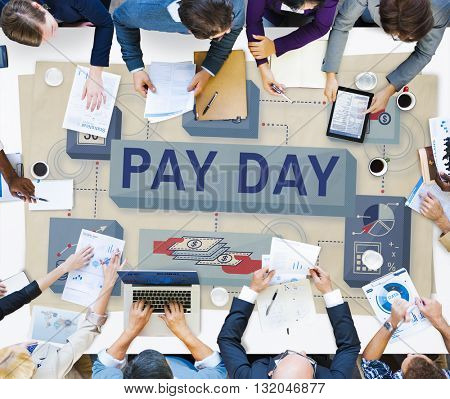 Pay Day Salary Income Paycheck Wages Payments Concept stock photo
