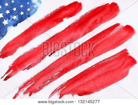 memorial day american flag flag USA flag USA watercolor flag USA hand-drawn flag USA illustration illustration of Fourth of July background for Happy Independence Day of America