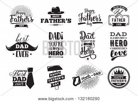 Happy fathers day set. Vector typography. Vintage lettering for greeting cards, banners, t-shirt design. You are the best dad.
