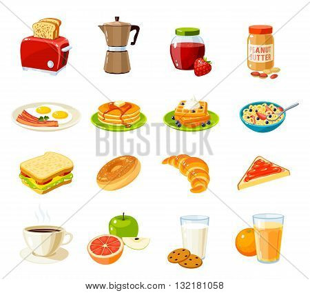 Set of cartoon food: breakfast. Toaster, coffee pot, jam, peanut butter, fried eggs and bacon, pancakes, waffles, cornflakes, sandwich, bun, croissant, fruits, juice and so. Vector illustration. stock photo