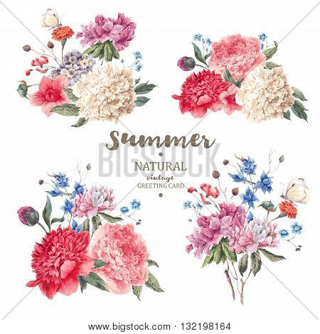 Set of vintage floral vector bouquet of peonies and garden flowers botanical natural peonies Illustration on white. Summer floral peonies greeting card