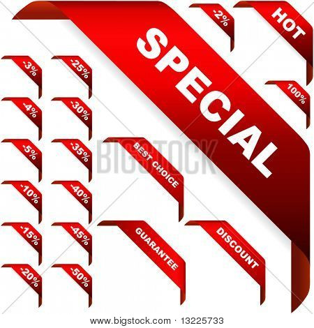 Set of vector corner ribbons for sale stock photo