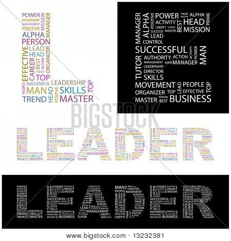LEADER. Word collage. Vector illustration. stock photo
